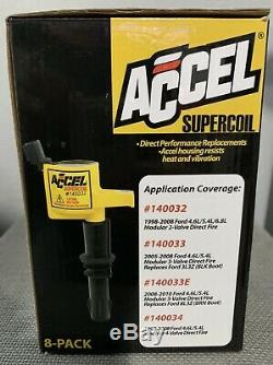 Accel 140033-8 Supercoil Ignition Coils 8 Pack for 2005-2008 Ford 4. L/5.4L New