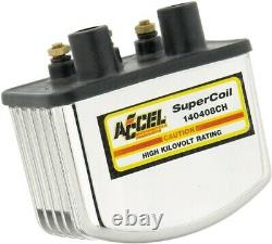 Accel Chrome Single Fire Super Coil, for Harley Davidson motorcycles, by 140408CH
