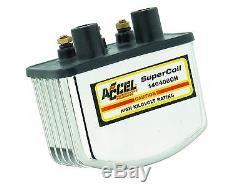 Accel Single Fire Supercoil Ignition Coil 3,0 Ohm Chrome, F. Harley Davidson